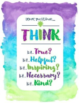 THINK first Poster. Think before you respond. Self regulation reminder
