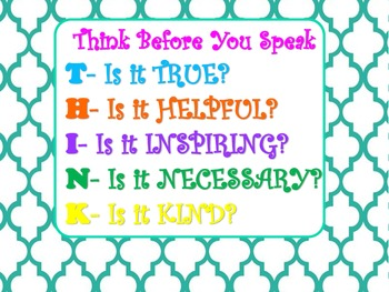 THINK poster classroom management