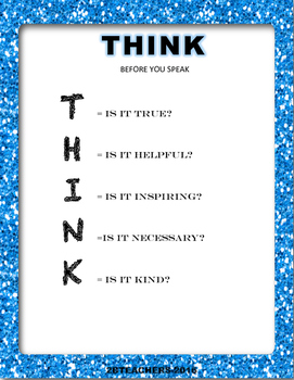 THINK posters for classroom management