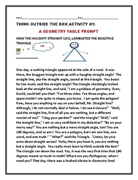 THINKING OUTSIDE THE BOX: ACTIVITY #1: A GEOMETRY FABLE
