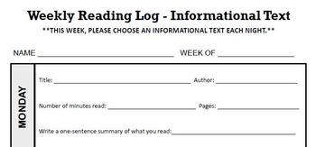 THIRD GRADE Reading Log, Informational Text