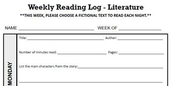 THIRD GRADE Reading Log, Literature