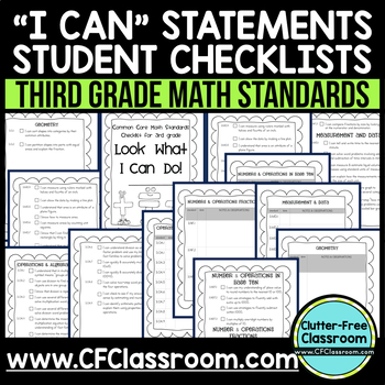 THIRD Grade I CAN STUDENT CHECKLIST for Common Core Math Standards 3rd grade