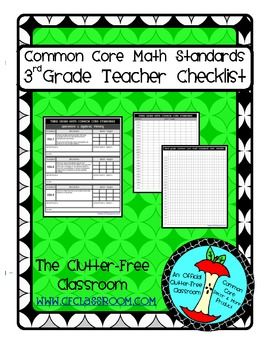 THIRD Grade TEACHER CHECKLIST for Common Core Math Standards 3rd grade