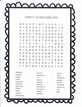 THIRTY INVERTEBRATES WORD SEARCH PUZZLE