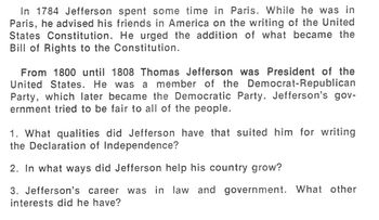 Biography THOMAS JEFFERSON HISTORY COOPERATIVE LEARNING - Small Groups; Partners