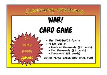 PLACE VALUE - WAR - Thousands - 3 Card Games