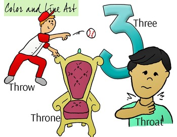 THR Blend Phonics Clip Art Set - Color and Line Art 8 pc set