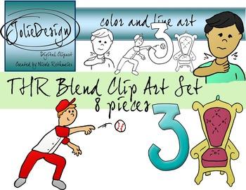 THR Blend Phonics Clip Art Set - Color and Line Art 8 pc set