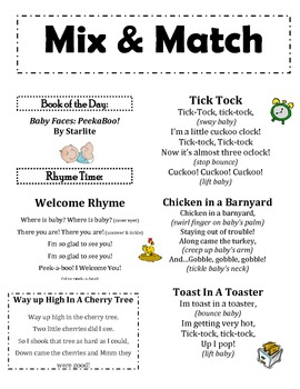 THREE Infant & Toddler Rhymes & Songs Handouts