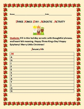 THREE KINGS DAY: ACROSTIC ACTIVITY
