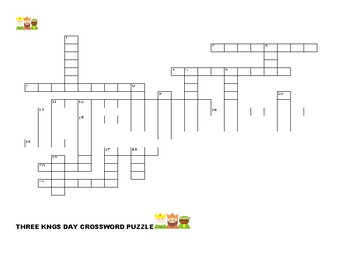 THREE KINGS DAY CROSSWORD PUZZLE W/ ANSWER KEY