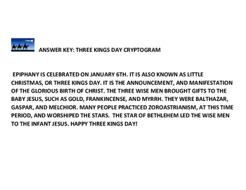 THREE KINGS DAY CRYPTOGRAM W/ ANSWER KEY