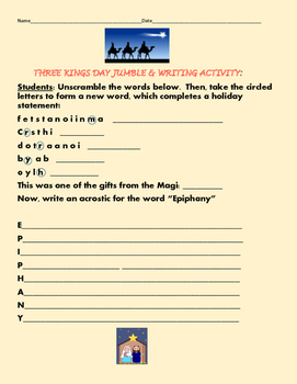 THREE KINGS DAY JUMBLE & WRITING ACTIVITY