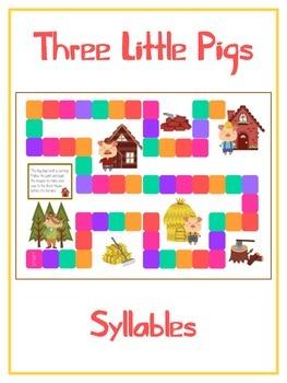 THREE LITTLE PIGS Syllables - ELA First Grade Folder Game - Word Work Center
