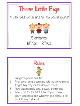 THREE LITTLE PIGS Vowels- ELA First Grade Folder Game - Word Work Center
