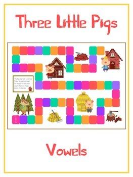 THREE LITTLE PIGS Vowels- ELA First Grade Folder Game - Wo