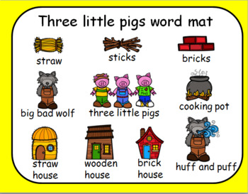 THREE LITTLE PIGS WORD MATS AND WORD CARDS