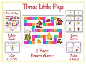 THREE LITTLE PIGS - Word Problems Adding & Subtracting - Math Folder Game