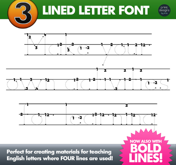 THREE Lined Alphabet Letter Tracing Font