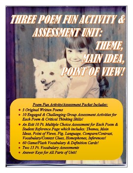 THREE POEM ACTIVITY & ASSESSMENT CCSS UNIT: THEME, MAIN IDEA, POINT OF VIEW!