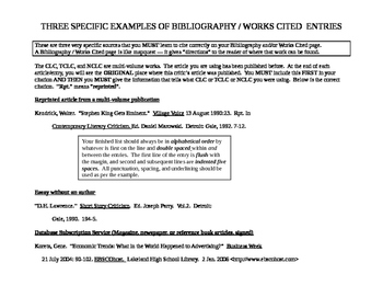 THREE SPECIFIC EXAMPLES OF BIBLIOGRAPHY / WORKS CITED  ENTRIES