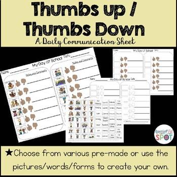 THUMBS UP/THUMBS DOWN Daily Communication Sheet * SPECIAL