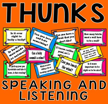 THUNKS ACTIVITY POSTERS - SPEAKING LISTENING LITERACY ENGLISH QUESTIONS READING