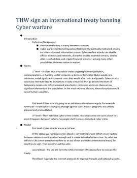 THW:Ban Cyber Warfare
