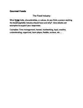 The Food Industry Writing Prompt