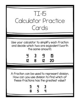 TI-15 Calculator Task Cards