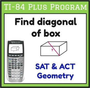 TI-83/84 Plus Program DIST3D - find diagonal of rectangular prism - Geometry SAT