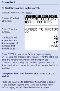 TI-83/84 Plus Program FACTOR - finding factors and prime factorization of number