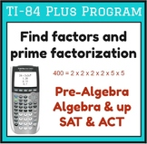 Find factors and prime factorization - TI-84 Plus Program