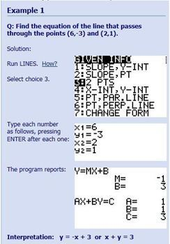 TI-83/84 Plus Program LINES - find equation of a line - for SAT, ACT, Algebra +