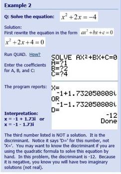 TI-83/84 Plus Program QUAD - solves quadratic equations, helps in factoring