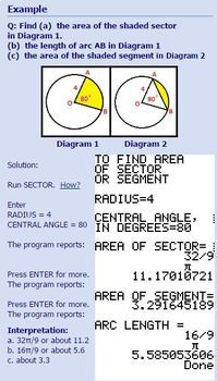 TI-83/84 Plus Program SECTOR - area of sector and segment of circle, arc length