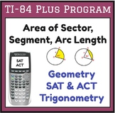 Find area of sector, arc length - TI program