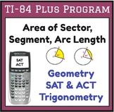 Find area of sector, arc length - TI program