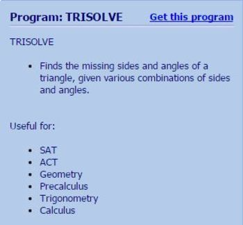 TI-83/84 Plus Program TRISOLVE - solves triangles - Law of Sines / Cosines