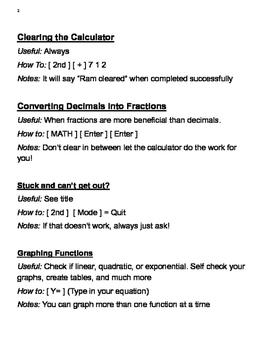 TI-83 Graphing Calculator Manual for Algebra 1
