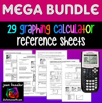 Graphing Calculator Mega Bundle of 27 Reference Sheets Grades 7 - 12+