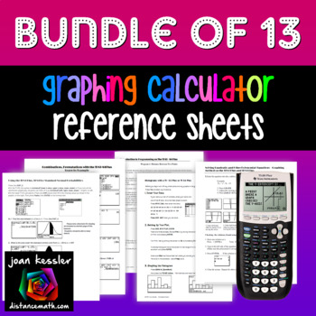 Graphing Calculator Handouts Bundle of 13 TI 83 TI 84 Plus