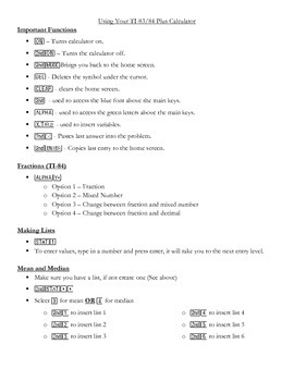 TI 83/84 Plus Calculator Sheet
