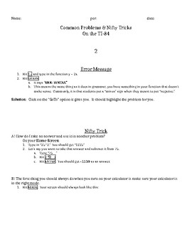 TI-84: Common Errors & Nifty Tricks