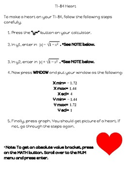 Valentine's Day- TI-84 Heart Instructions