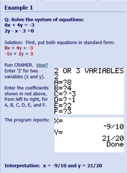 TI-84 Plus Program CRAMER solves systems of linear equations - SAT, ACT, Algebra