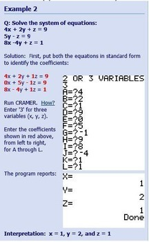 Solve systems of linear equations- TI program