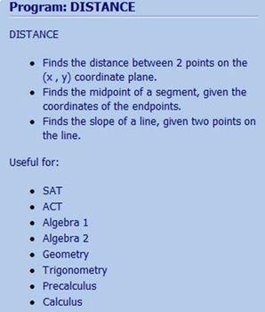 TI-84 Plus Program DISTANCE - distance, midpoint, slope - SAT ACT Algebra
