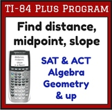 Find distance, midpoint, slope - Program for TI-84 Plus SAT ACT Algebra